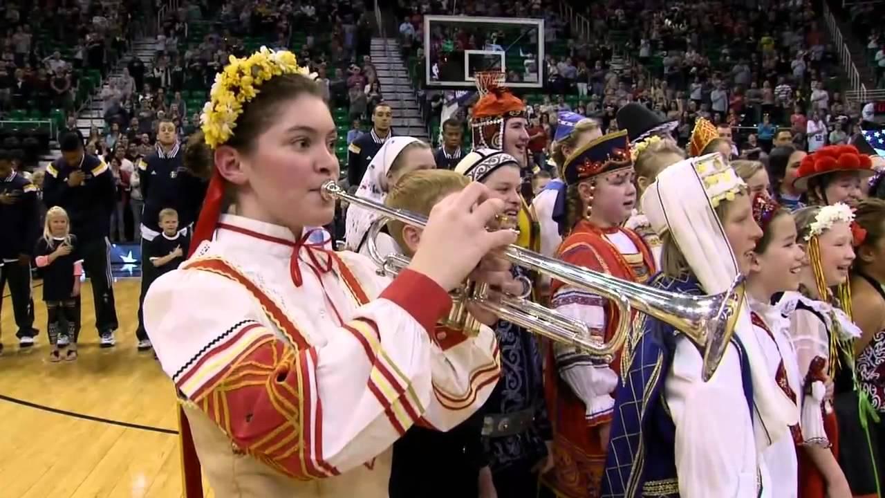 International Children's Choir Singing the National Anthem ...