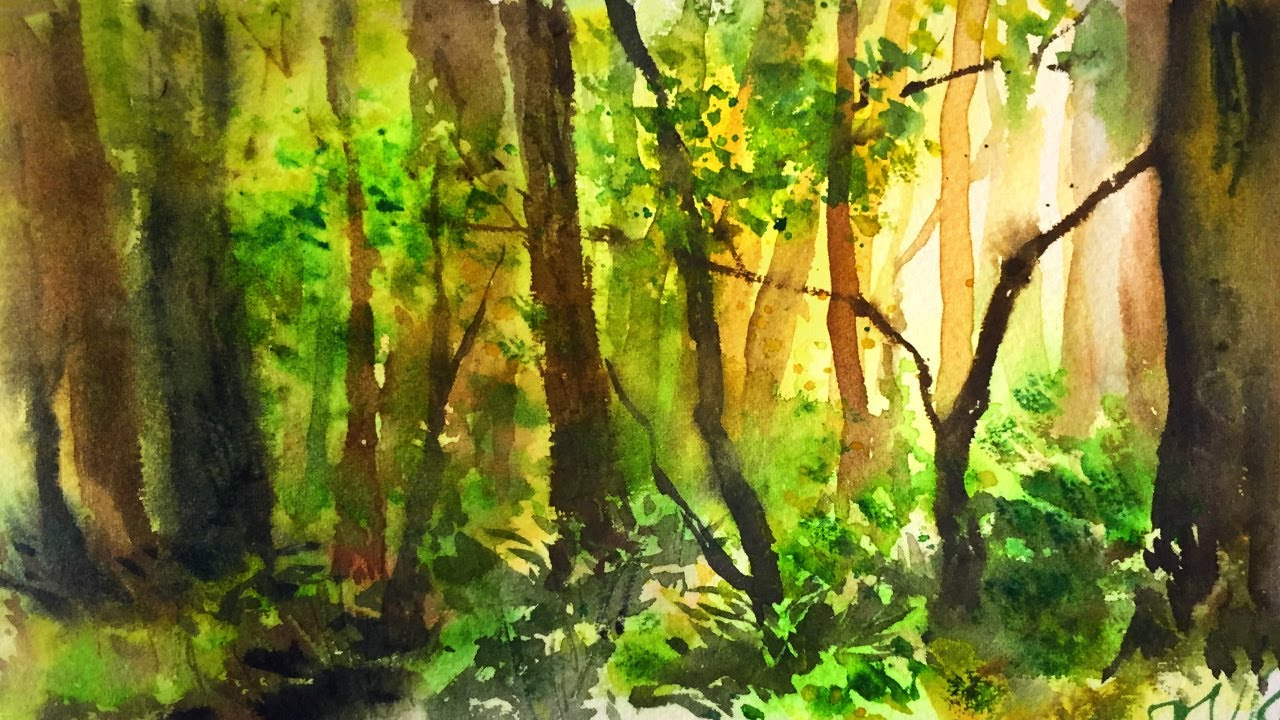 simple watercolor forest demonstration youtube simple watercolor forest demonstration