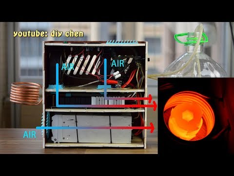 Home made 2500W induction heating machine; DIY zvs low cost fast metal heater, quenching, casting