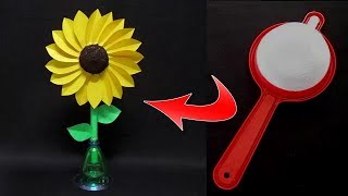 Plastic Tea Strainer Craft Idea | Make Flower With Tea Strainer | Reuse Waste Strainer