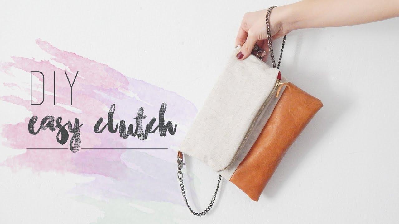 DIY EASY CLUTCH | Cómo hacer un bolso de lino y cuero - YouTube