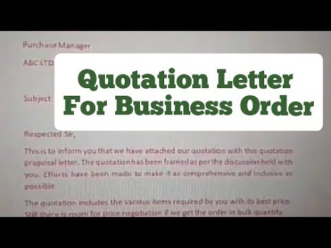 Quotation Letter For Getting Business Order.