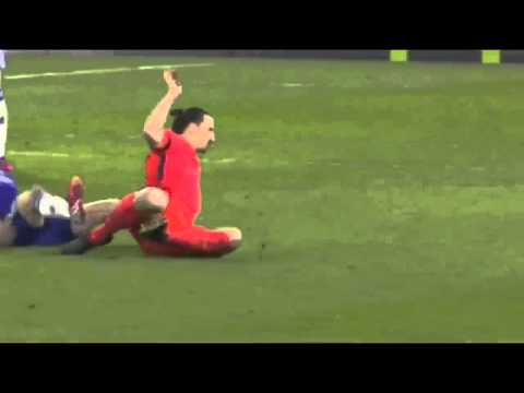 Zlatan Ibrahimovic Red Card  Foul on Oscar | Chelsea vs PSG 11.03.2015