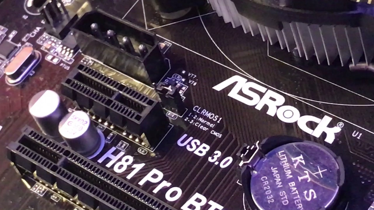 Resetting the CMOS battery and jumpers on the motherboard  Ethereum Mining  Rig