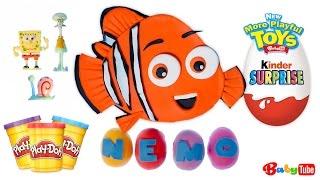 Deschidem un ou uriaș Kinder Surprize Play Doh cu Nemo și jucării-surpriză din Buretele Bob înăuntru