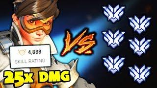 RANK 1 PLAYER vs 6 Top 500 Players But Rank 1 Has 25x DMG Overwatch