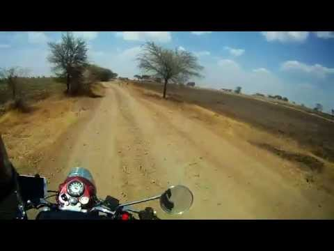 Riding on dirt road at 45 degrees before Dhar, MP