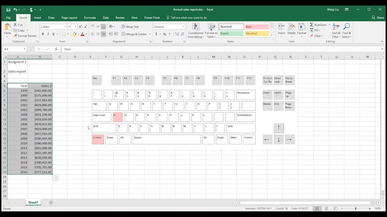 trend analysis with microsoft excel 2016