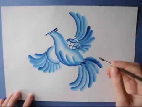 Гжель.Как нарисовать птицу. Пейзаж. Bird. Landscape.