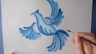 Гжель.Птица и пейзаж.(Рисуем птицу и пейзаж в кругу (тарелке).Гжельская роспись., 2015-09-04T05:48:15.000Z)