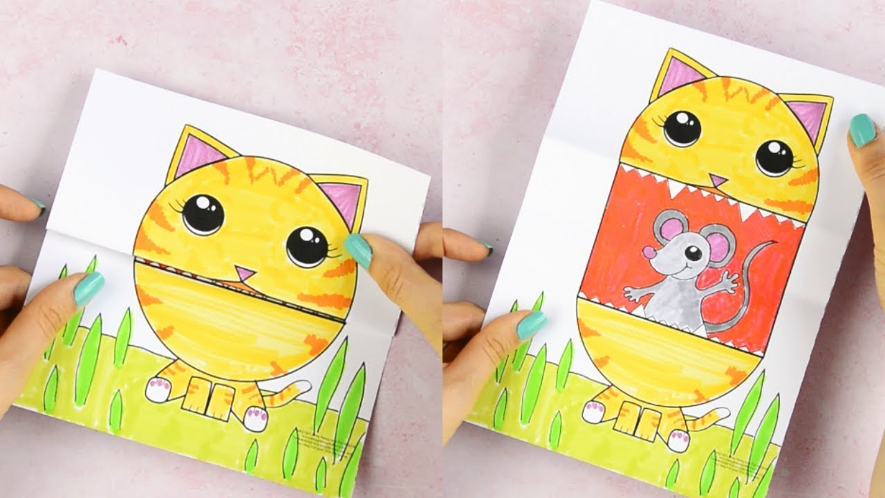graphic about Printable Arts and Crafts known as Speculate Significant Mouth Cat Printable - paper crafts for children