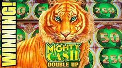 ★WINNING! NICE TIGER RUN★ MIGHTY CASH DOUBLE UP Slot Machine Bonus (Aristocrat)