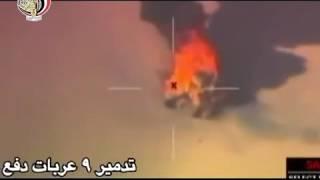 شاهد.. لحظة استهداف 9 عربات دفع رباعي محملة بالأسلحة على الحدود