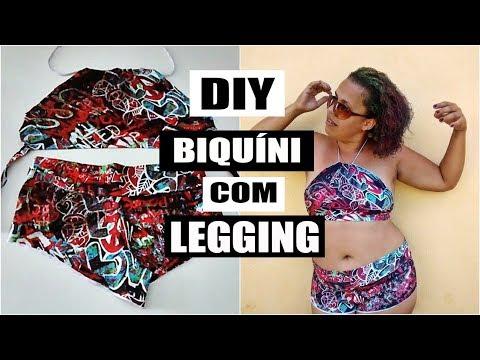 0f804a4a8 DIY - BIQUÍNI COM LEGGING (SEM COSTURA) - YouTube