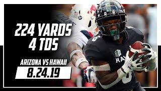Cedric Byrd Full Highlights Hawaii vs Arizona | 14 Rec, 224 Yards, 4 TDs | 8.24.19