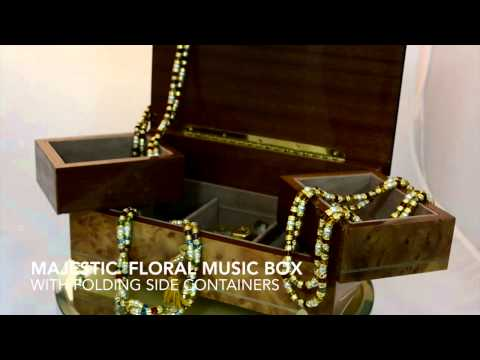 Floral music box and murano glass jewelry