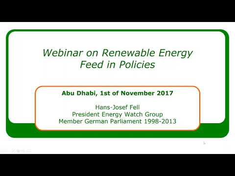 Webinar on Renewable Energy Feed in Policies