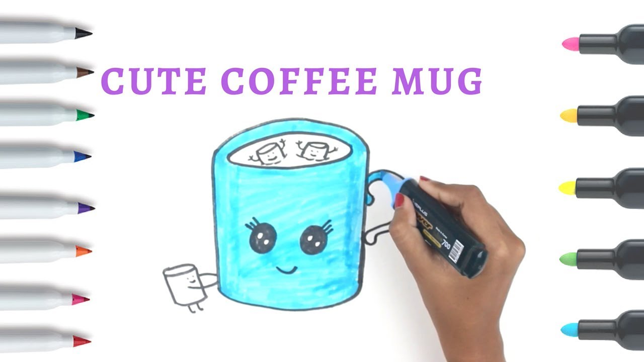 How to Draw a Cute Cup of Coffee | Coffee Cup Drawing ...