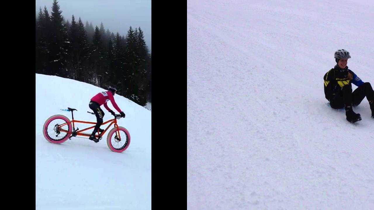 Snow bike fesitval 2016, stage 2, downhill eggli-gstaad (red ski slope) - the tandem way;-)