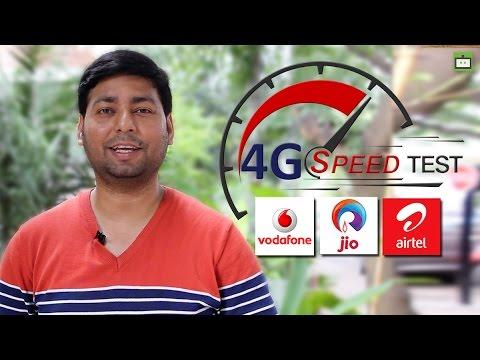 Reliance Jio 4G, Vodafone 4G, Airtel 4G Speed Test (Hindi)
