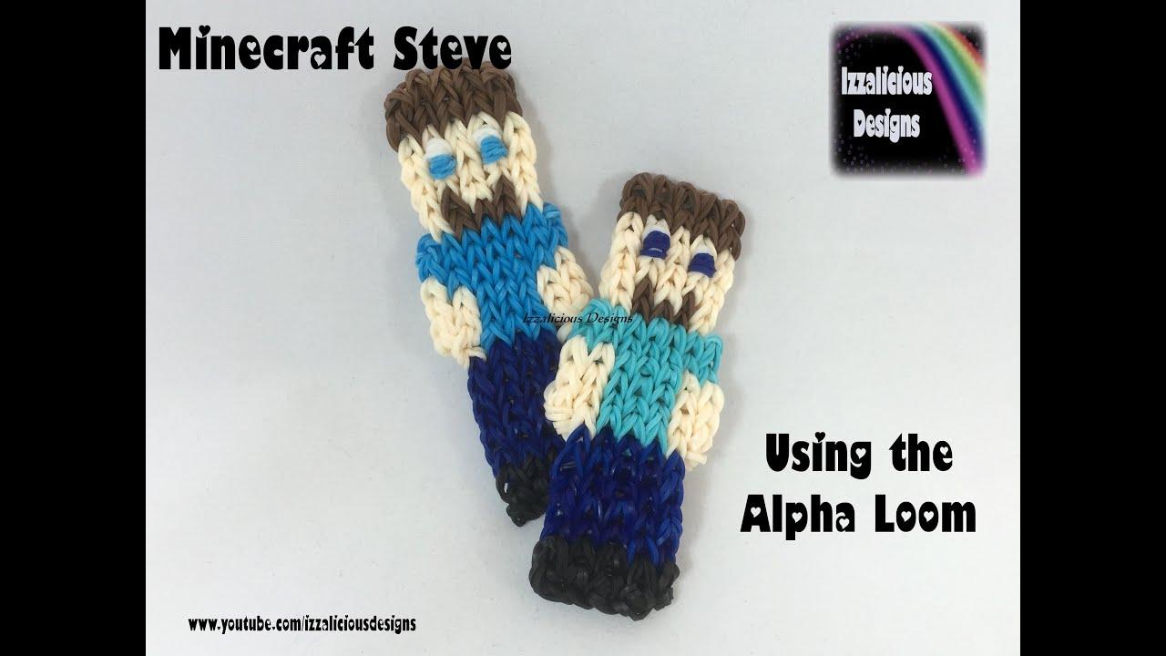 Rainbow Loom Alpha Loom Minecraft Steve Figure Youtube
