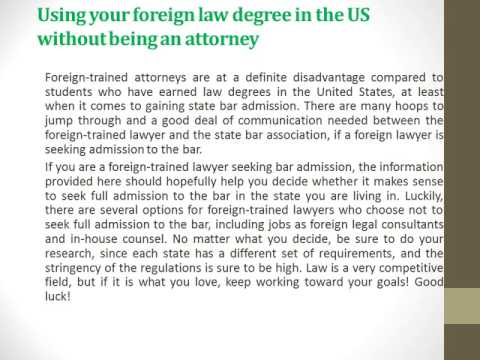 Using your foreign law degree in the US without being an attorney