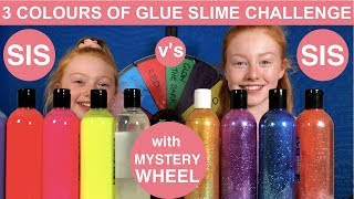 3 COLORS OF GLUE SLIME CHALLENGE W/ MYSTERY WHEEL | TESTING UK COLORED GLUES | Ruby & Raylee