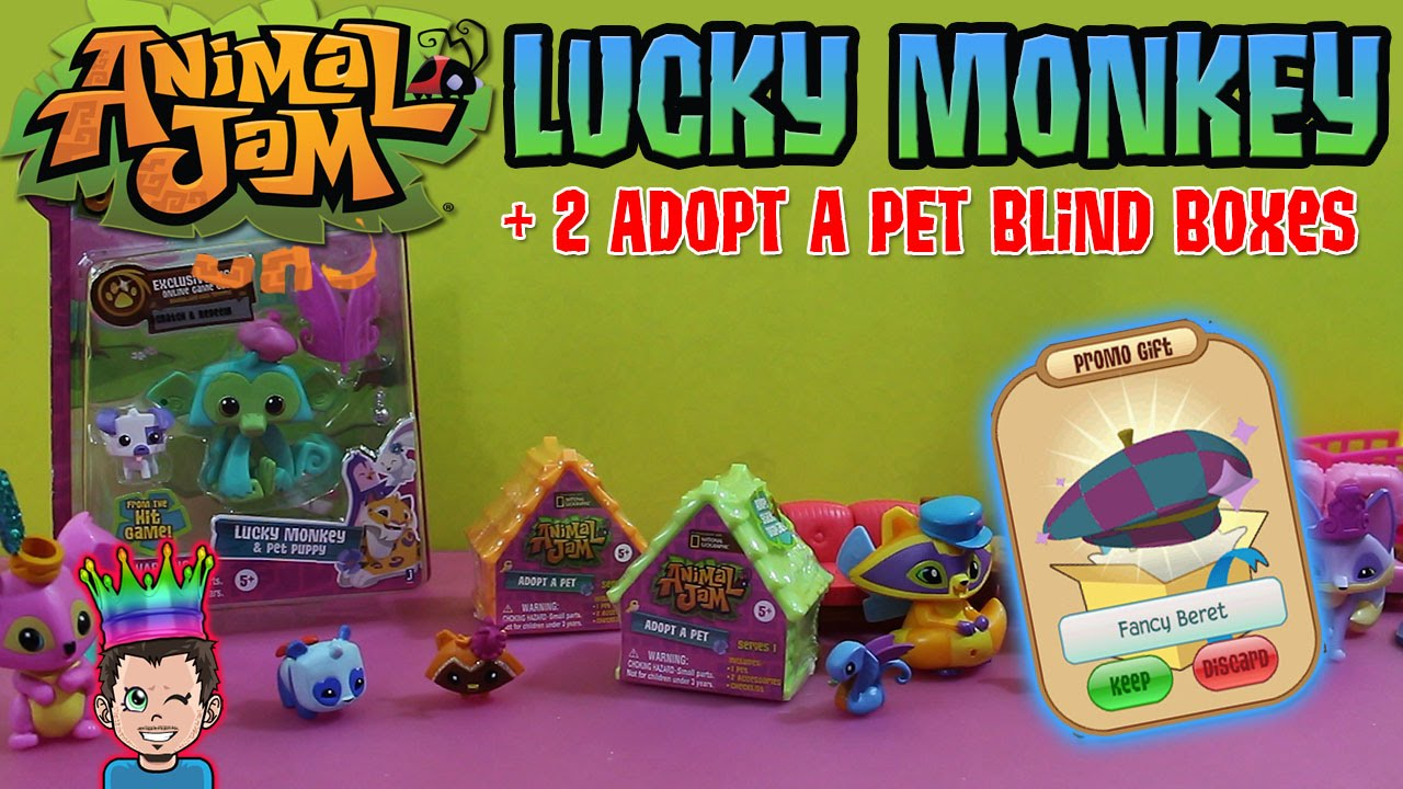 Animal Jam Toys Lucky Monkey 2 Adopt A Pet Blind Boxes Opening