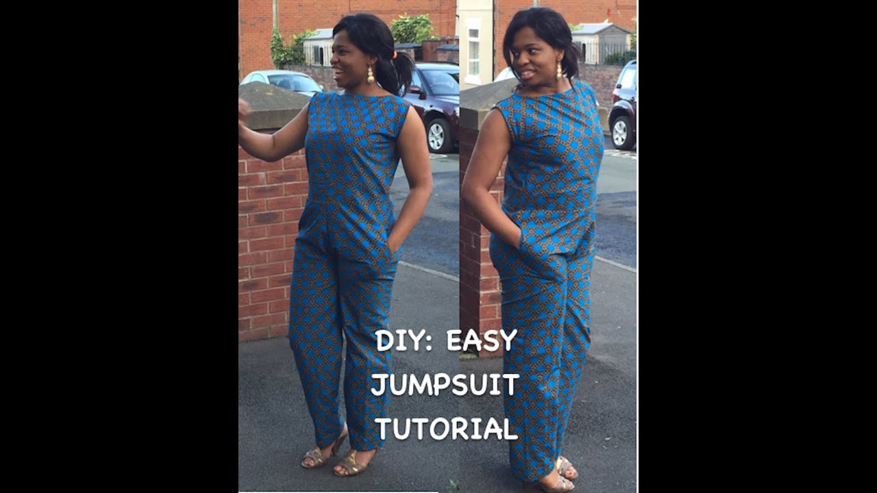 diy ankara jumpsuit tutorial with side pockets youtube