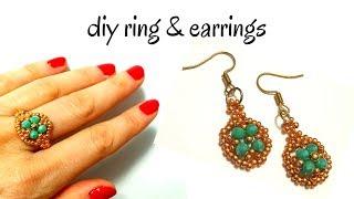 How to make beaded earrings. How to make beaded ring. DIY jewelry set