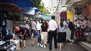 [4K] Crowded Market in Silom, Bangkok