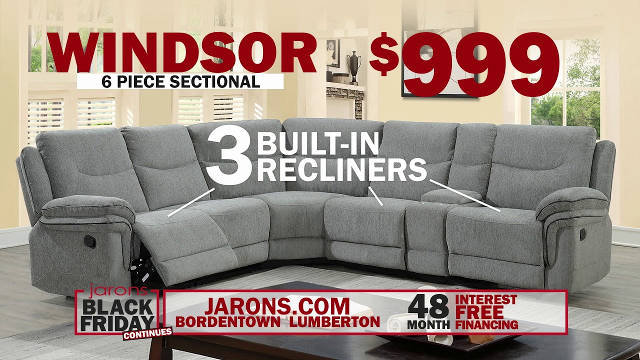 Jarons Furniture 2018 Black Friday Windsor 6pc Sectional Ext Youtube