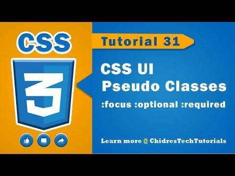 CSS Video Tutorial - 31 - UI Pseudo Classes | :focus, :blur, :optional, :required