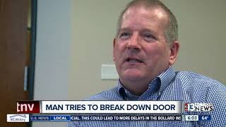 Shocking surveillance shows man hurling himself at a door, trying to break into home