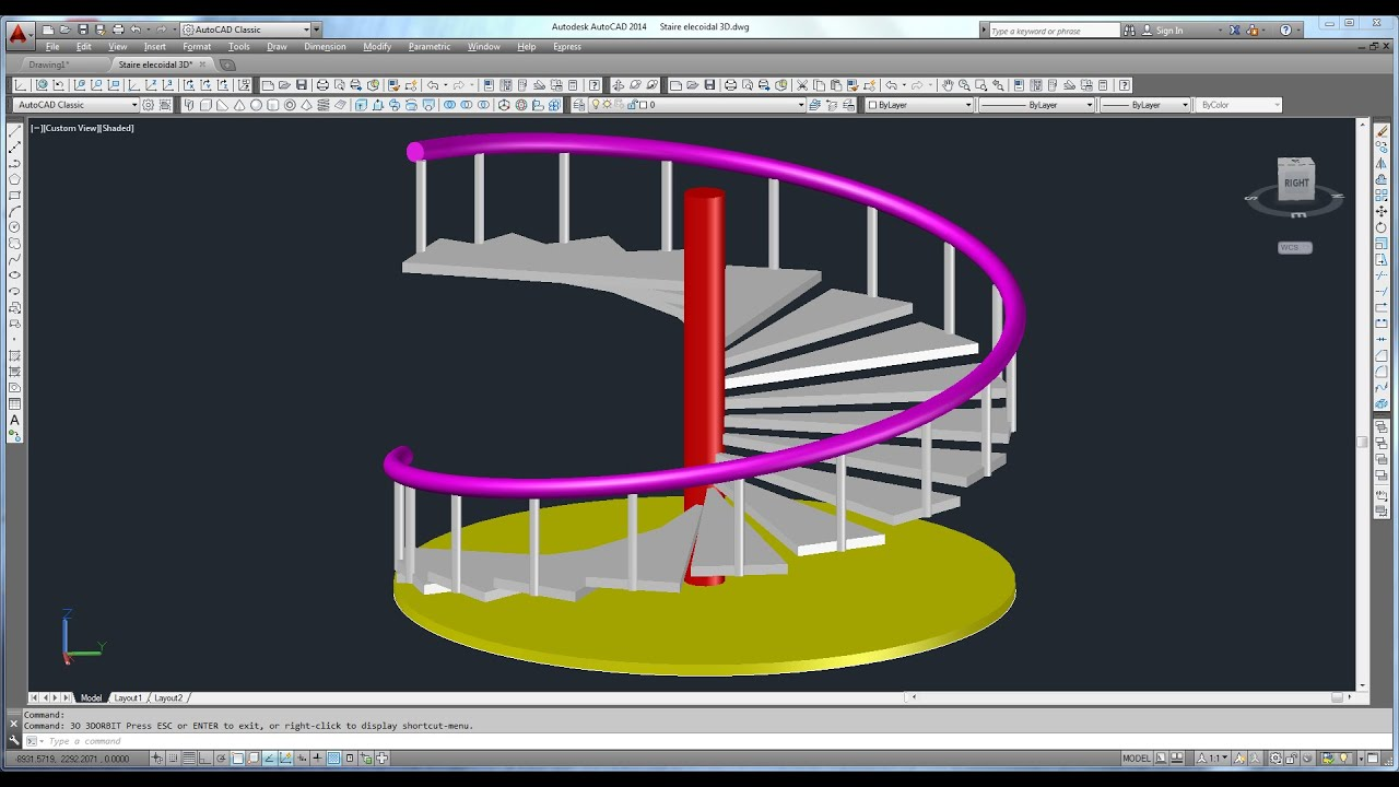 Spiral staircase 3d with handrail posts in few munites for Make 3d design online