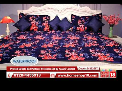 Home18 Printed Double Bed Mattress Protector Set By Azaani Comfort