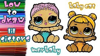 lil sisters  - How to Draw Lil Baby Cat and Lil Merbaby - learn to draw - coloring pages