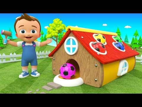 Ba Fun Learning Colors with Wooden Hammer SoccerBalls Colors House ToySet 3D Kids Educational
