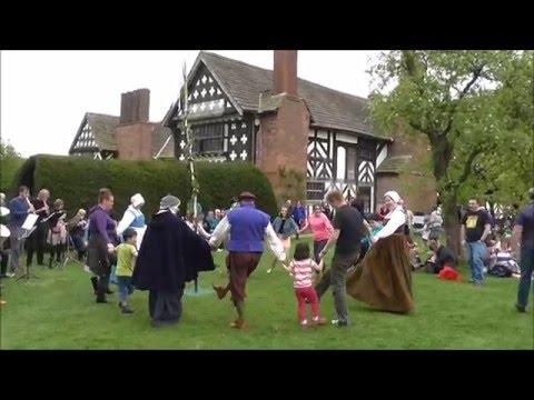 Traditional Maypole dancing at Little Morton Hall