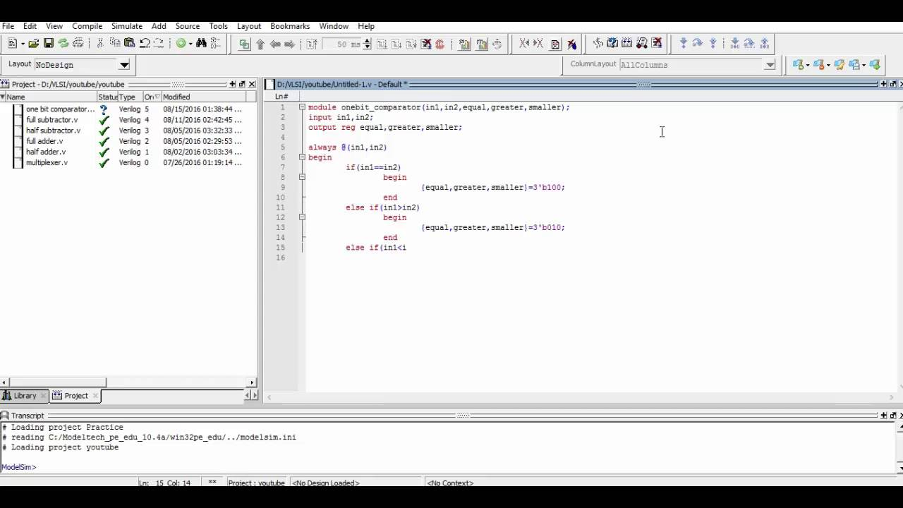 Verilog Code for One Bit Comparator
