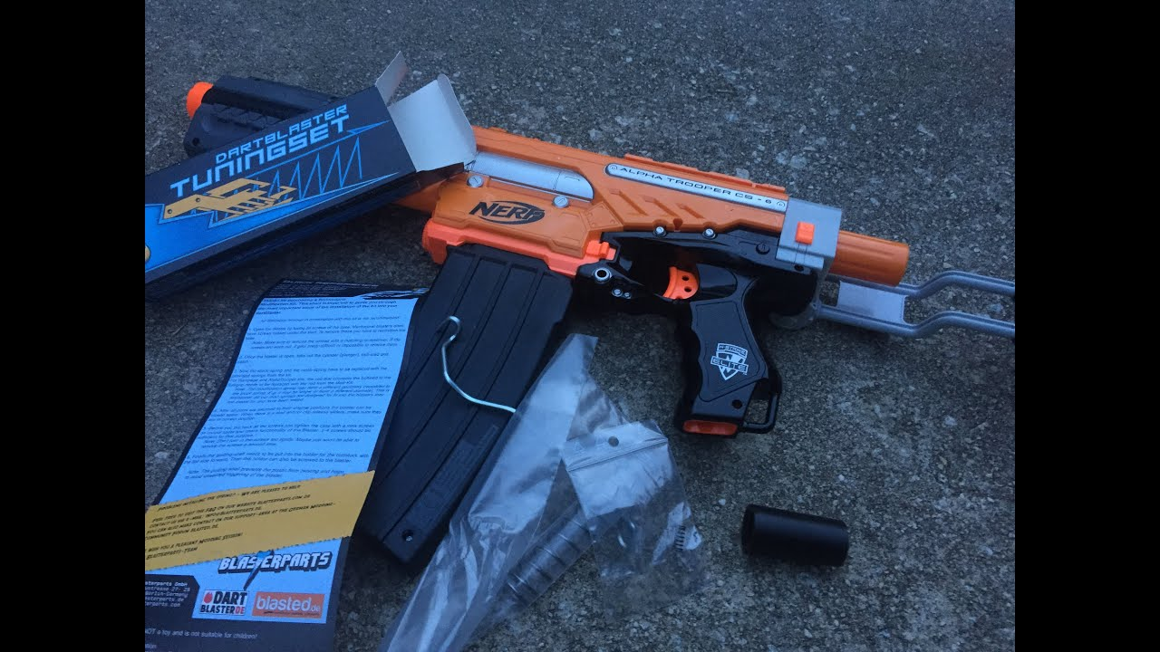 Review German Nerf Elite Alpha Trooper Mod Kit Spring Priming Bar Stabalizer