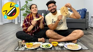 ROTI MAKING CHALLENGE | Making Roti For The First Time with My Wife😂FIRST TIME Roti Rolling Practice