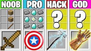 Minecraft Battle: AVENGERS ENDGAME CRAFTING! NOOB vs PRO vs HACKER vs GOD in Minecraft Animation