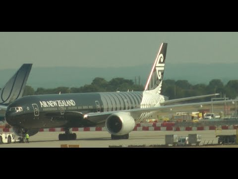 London Heathrow Airport with atc, air new zealand black United, Emirates 777