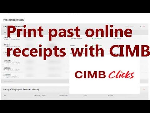How To Print Cimb Past Receipts Youtube