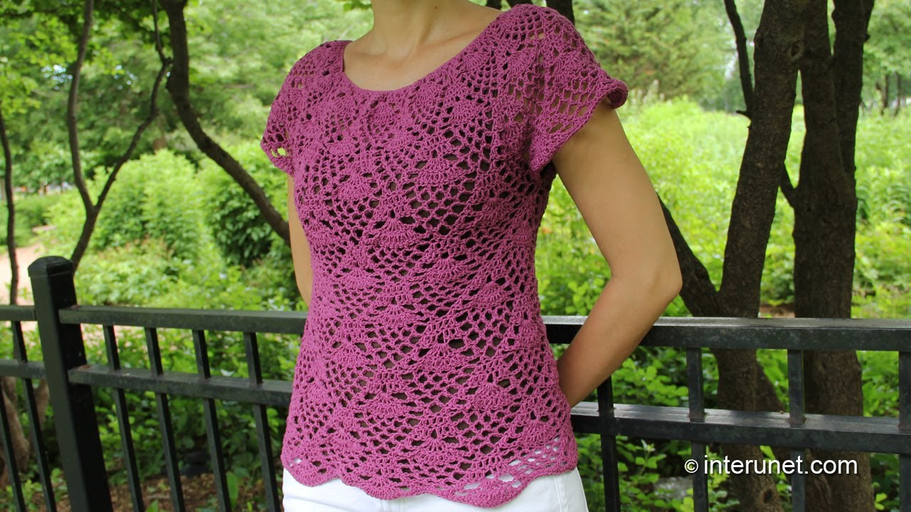 Crochet pineapple stitch blouse - Part 1 of 2 - YouTube 6e80a599281