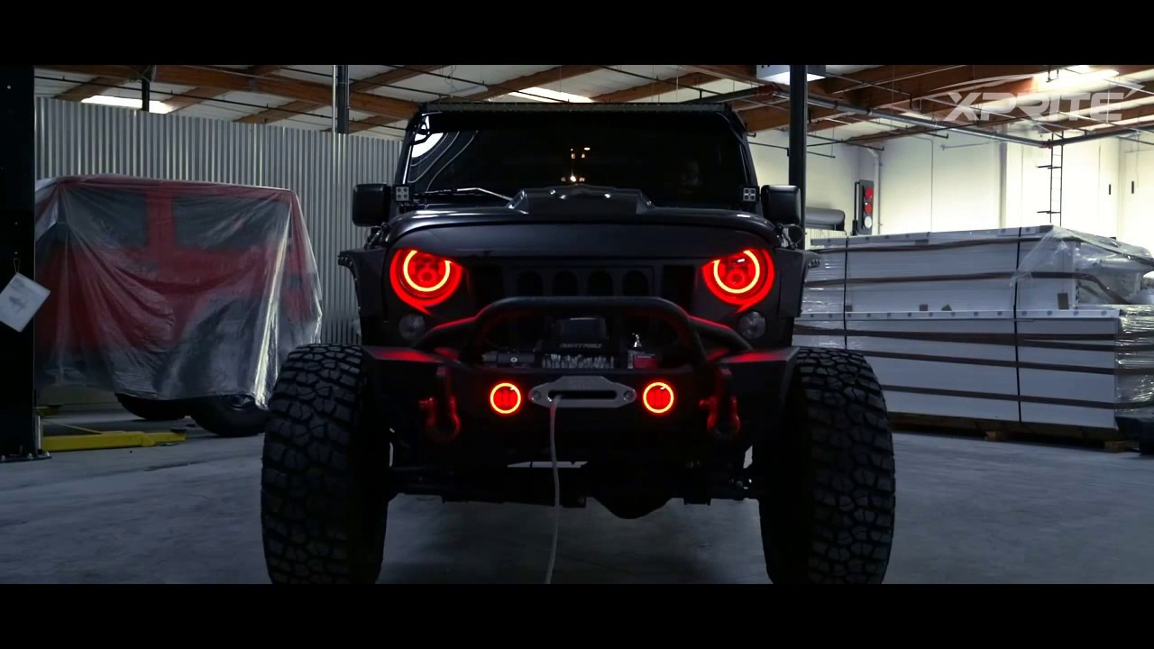 Halo Lights For Jeep Wrangler >> 7 Inch Led Red Halo Headlights For Jeep Wrangler Jk Tj Lj 1997 2018