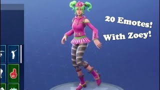 "FORTNITE ""ZOEY"" Skin Showcased with 20 Dances/Emotes (fr) Fortnite SEASON 4 Battle Pass Skin"