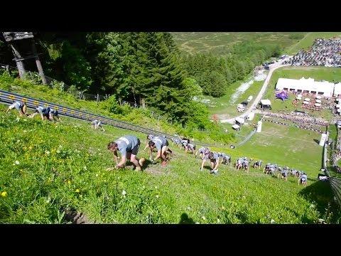 Mountain running up steep ski jump - Red Bull 400 Kulm 2014