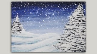 Acrylic Painting - Winter Pines - Landscape Painting -  #LoveWinterArt